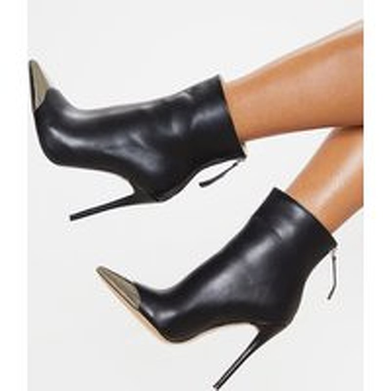 Black Metal Toe Heeled Ankle Boot