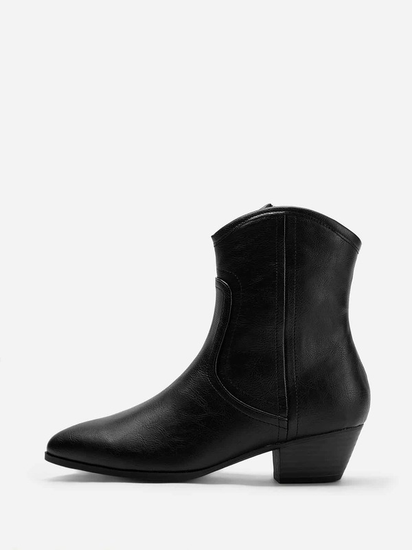Plain Pointed Toe Zipper Side Boots