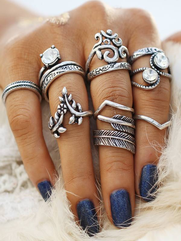 Heart & Leaf Design Ring Set 8pcs