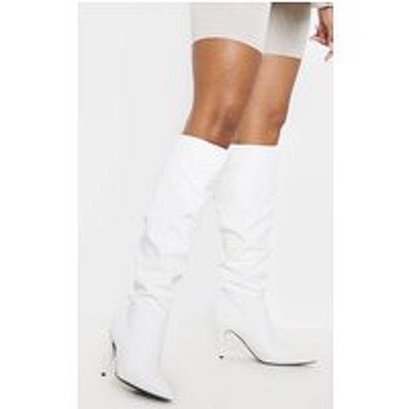 White Mid Heel Knee Boot