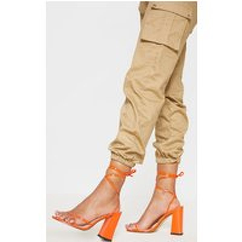 Orange Block Heel Ankle Tie Toe Thong Sandal