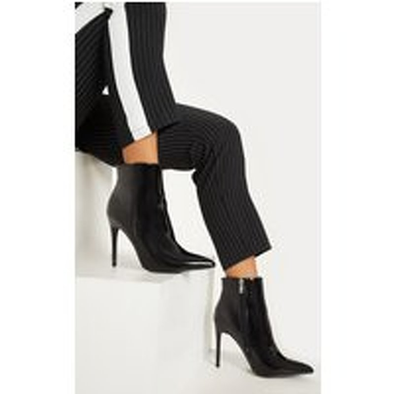 Black Patent Point Toe Ankle Boot