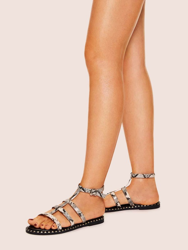 Snakeskin Pattern Cut Out Flat Sandals