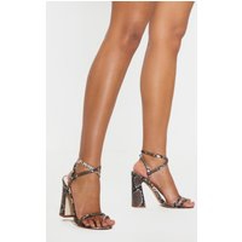 Snake Toe Loop Block Heel Sandal