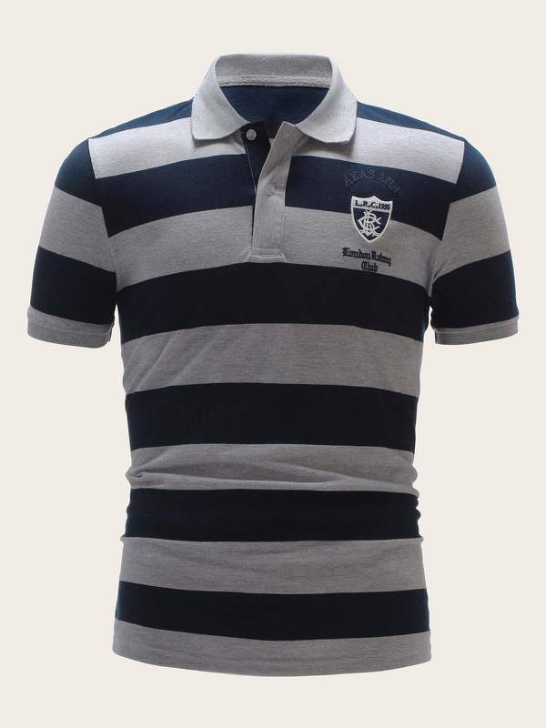 Men Letter Embroidery Striped Polo Shirt