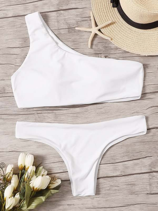 One Shoulder Top With Hipster Bikini Set