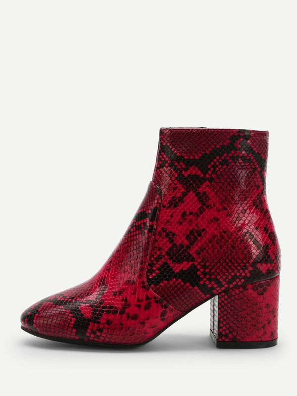 Snakeskin Pattern Block Heeled Ankle Boots