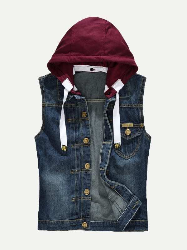 Men Hooded Denim Vest