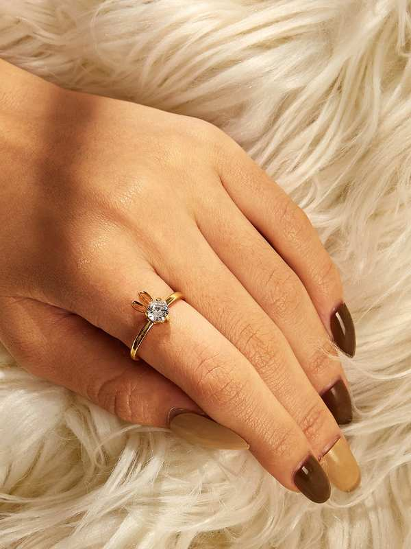 Rabbit Detail Rhinestone Ring 1pc