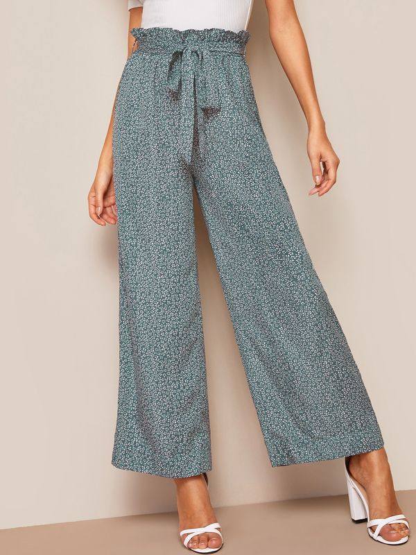 Paperbag Waist Ditsy Floral Wide Leg Pants