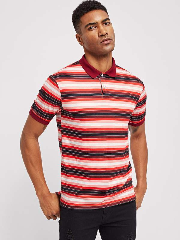 Men Button Front Collar Striped Polo Shirt