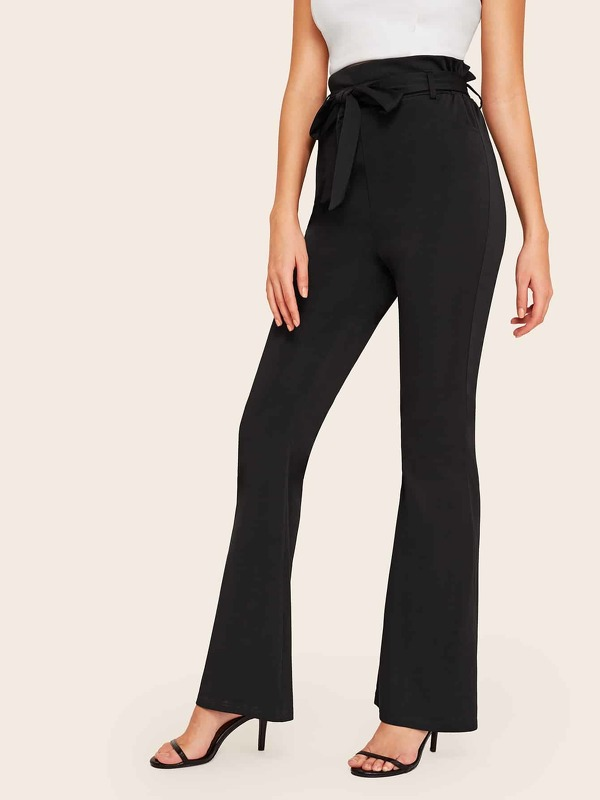 Solid Self Tie Flare Leg Pants