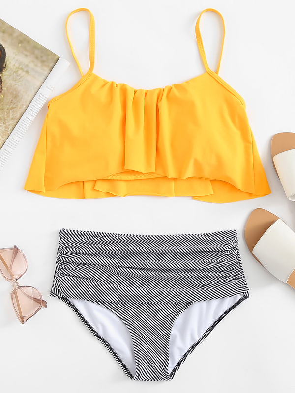 Flounce Top With Striped Ruched High Waist Bikini