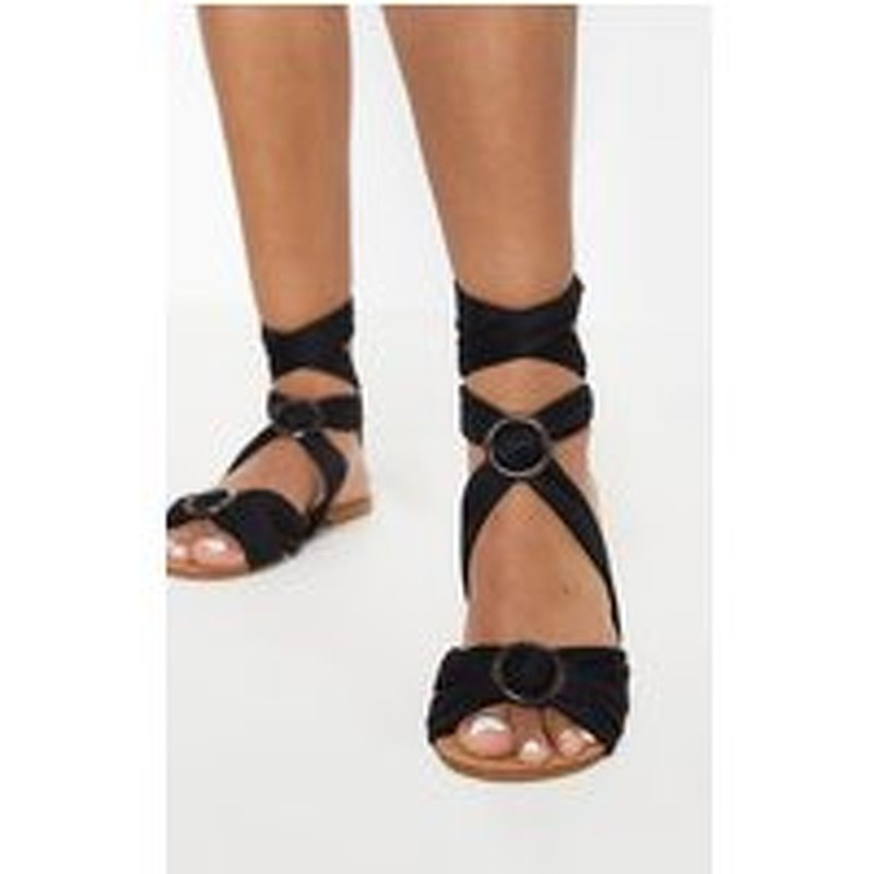 Black Tortoise Ghillie Lace Up Sandal