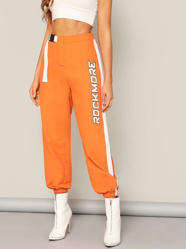 Push Buckle Letter Print Tapered Pants