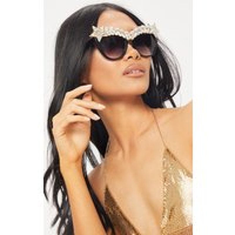 Black Pointy Cat Eye Crystal Gemstone Top Glasses