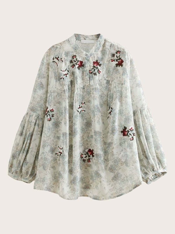 Floral Print Embroidered Chiffon Blouse