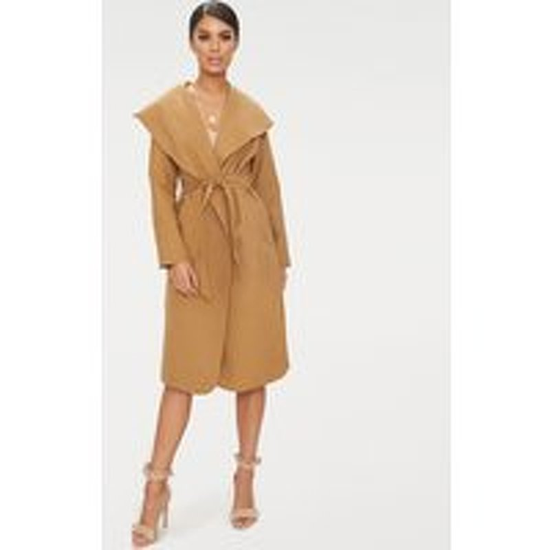 Veronica Camel Oversized Waterfall Belt Coat