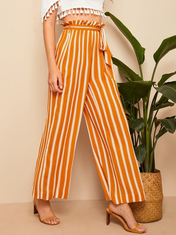 Paperbag Waist Self Belted Striped Palazzo Pants