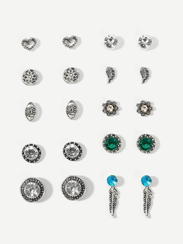 Feather & Flower Stud Earrings 10pairs