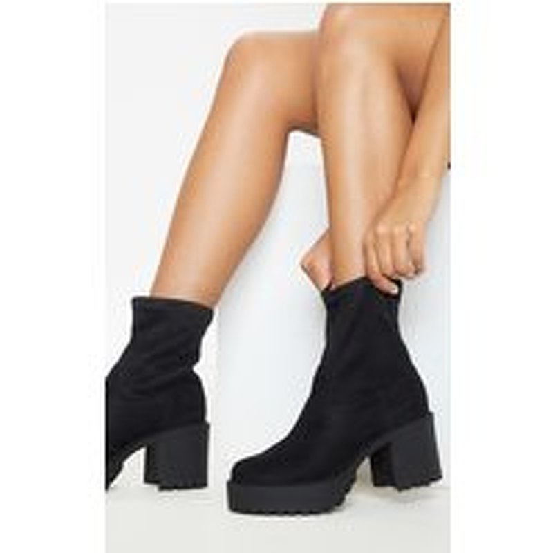 Black Faux Suede Chunky Sock Boot