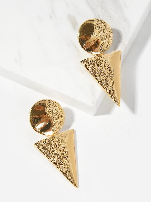 Textured Round & Triangle Drop Earrings 1pair