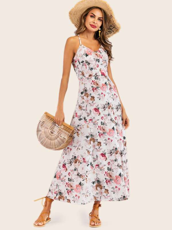 Calico Print Split Side Cami Dress