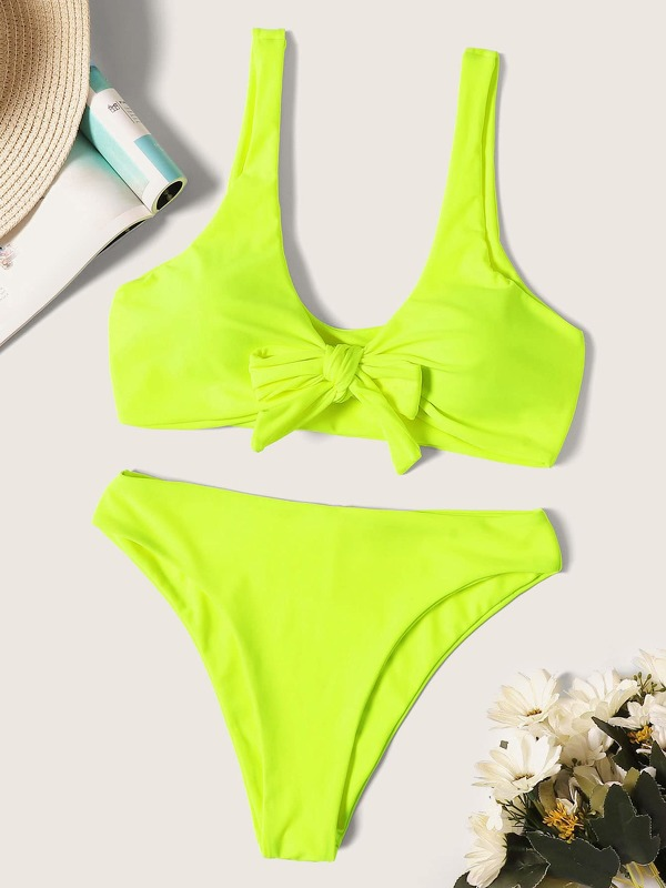 Neon Lime Knot Top With High Leg Bikini