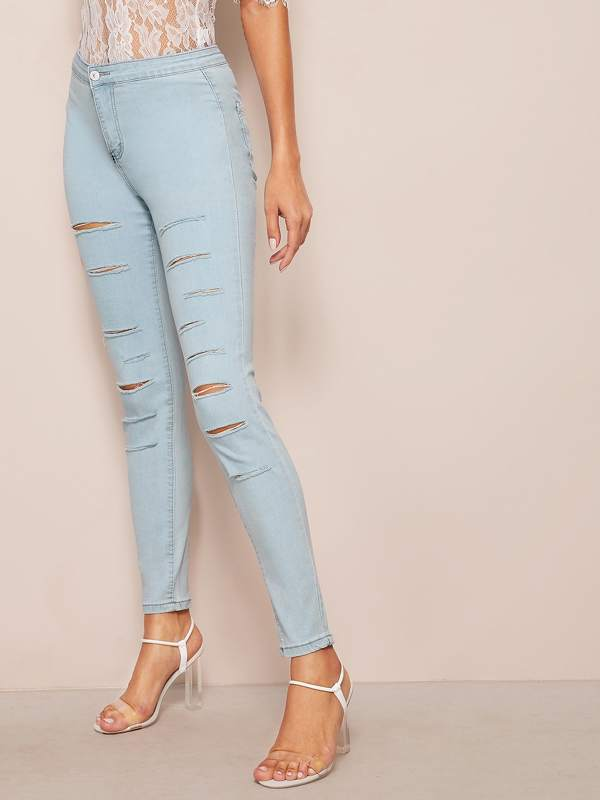 Light Wash Rips Detail Skinny Jeans