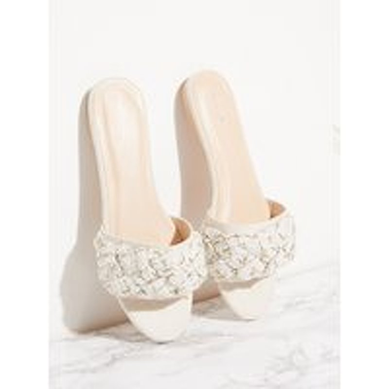Cream Plaited Strap Mule Sandal