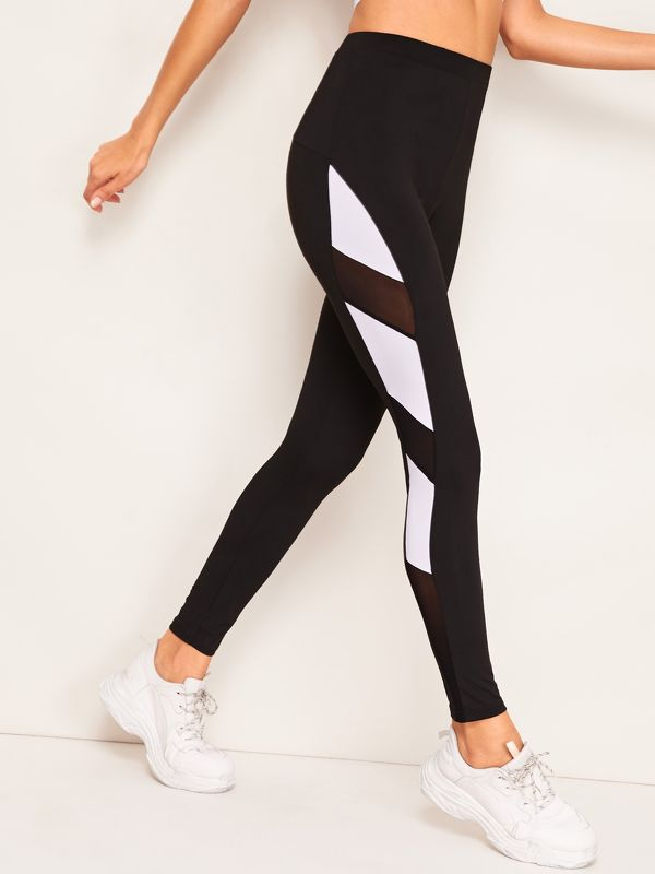 Contrast Mesh Color-block Leggings