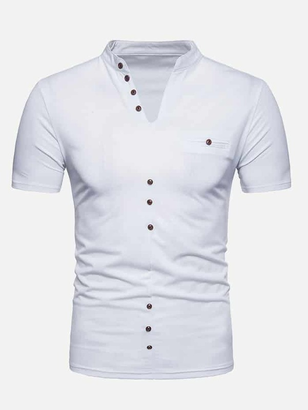 Men Button Detail Solid Polo Shirt