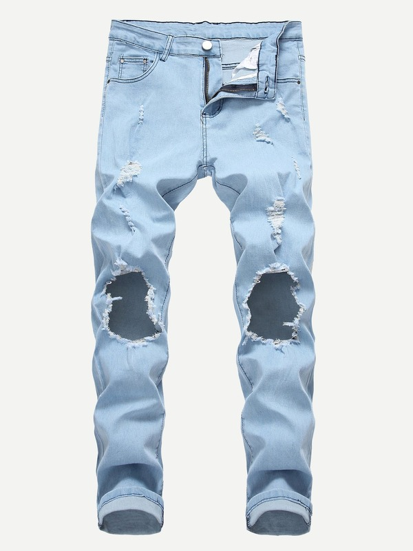 Men Ripped Detail Solid Jeans
