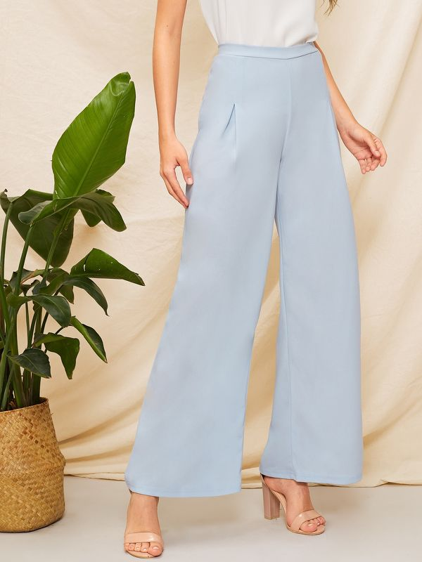 Fold Pleated Wide Leg Solid Pants