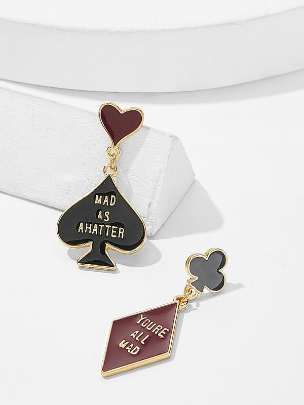 Heart & Geometric Detail Mismatched Drop Earrings 1pair