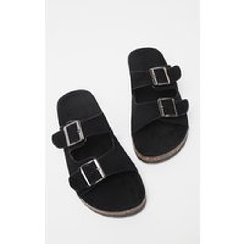 Black Double Buckle Mule Sandal