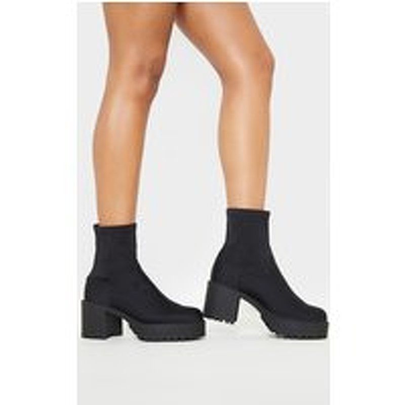 Black Lycra Chunky Sock Boot