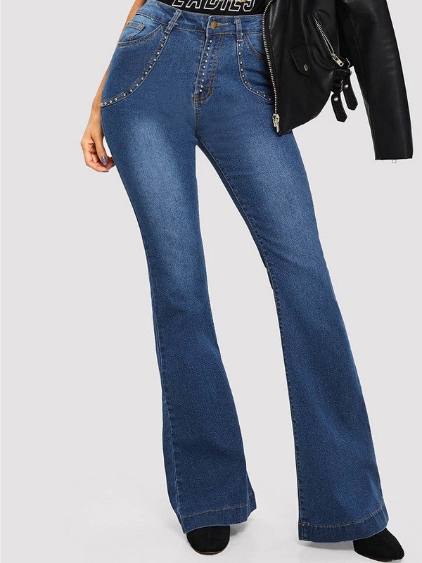 Beaded Decoration Faded Wash Flare Leg Jeans