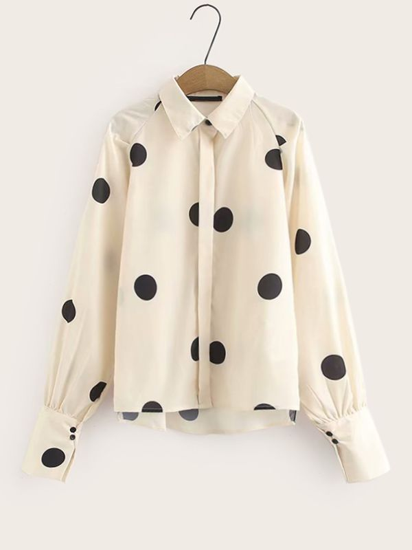 Polka Dot Raglan Sleeve Blouse