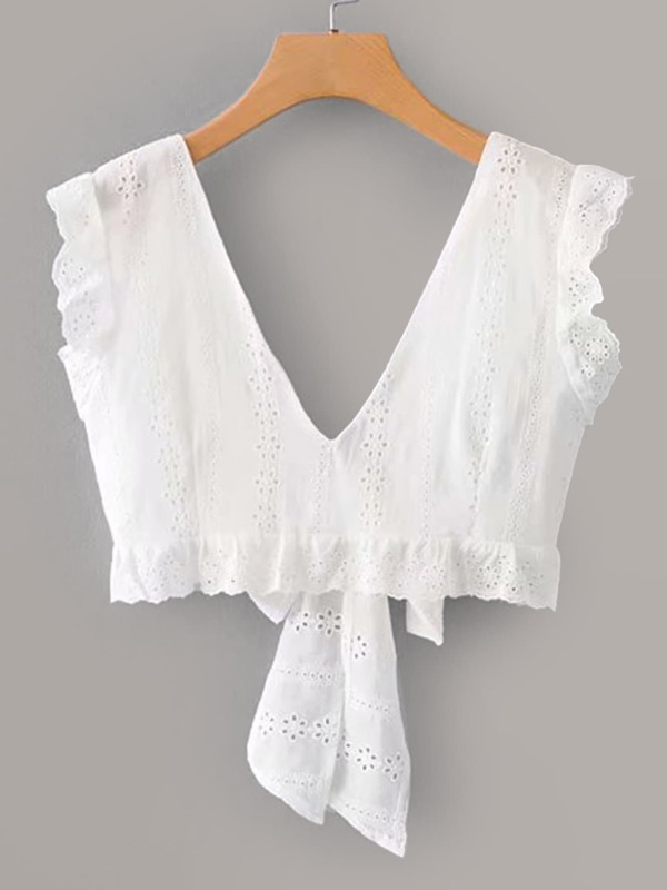 Tie Back Frill Trim Schiffy Blouse