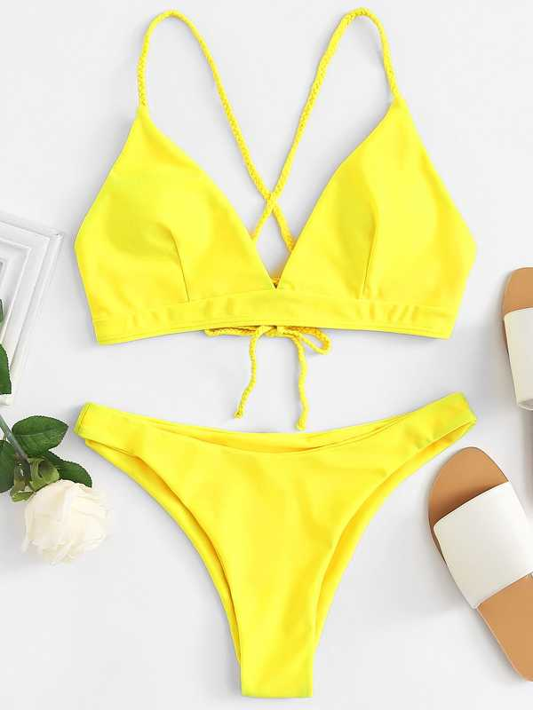 Lace Up Top With High Leg Bikini Set