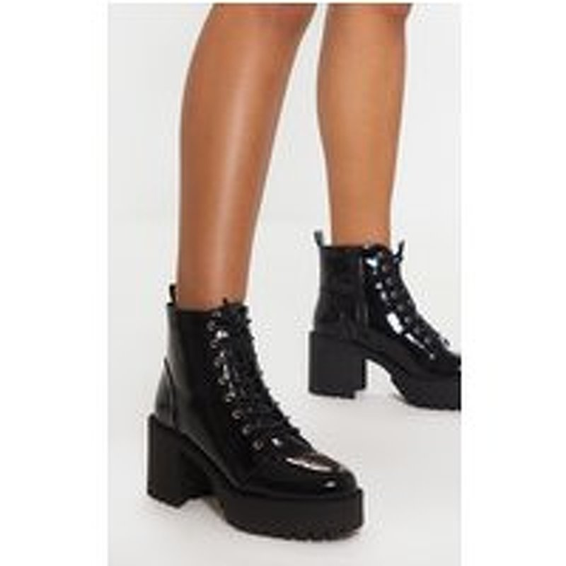 Black Patent Lace Up Chunky Cleated Ankle Boot