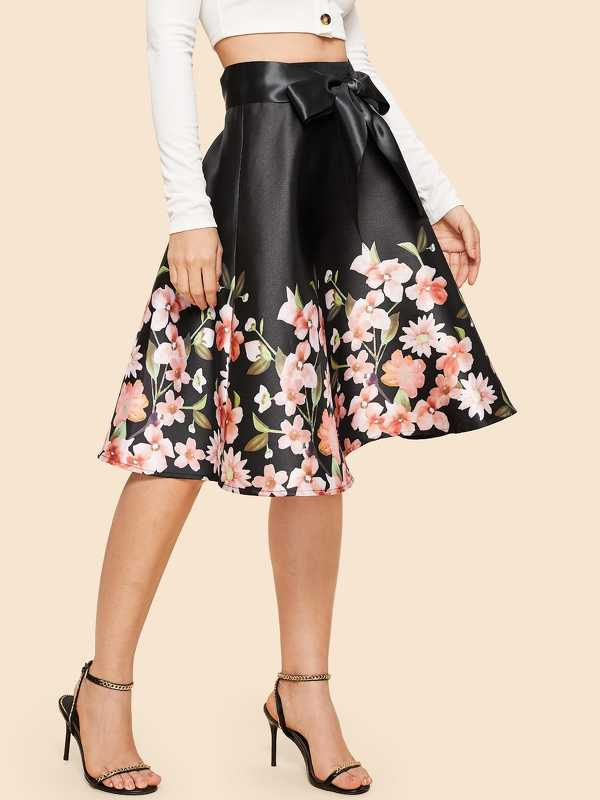 70s Floral Print Self Tie Skirt