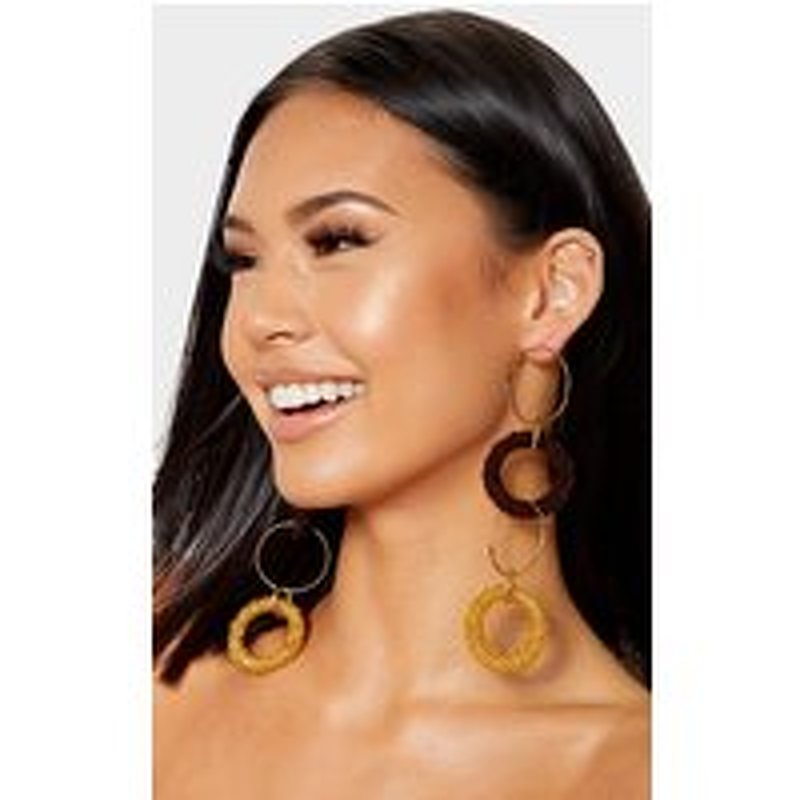 Brown And Yellow Multi Ring Drop Earrings