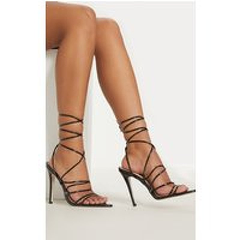 Black Strappy Gladiator Point Toe Heel