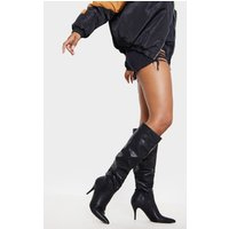 Black Mid Heel Knee Boot
