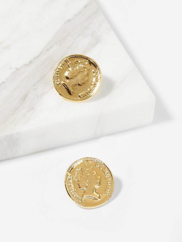 Figure Engraved Round Stud Earrings 1pair