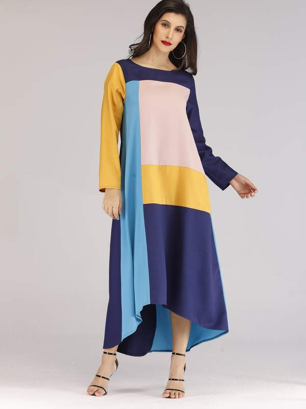 Color Block Asymmetric Hem Dress