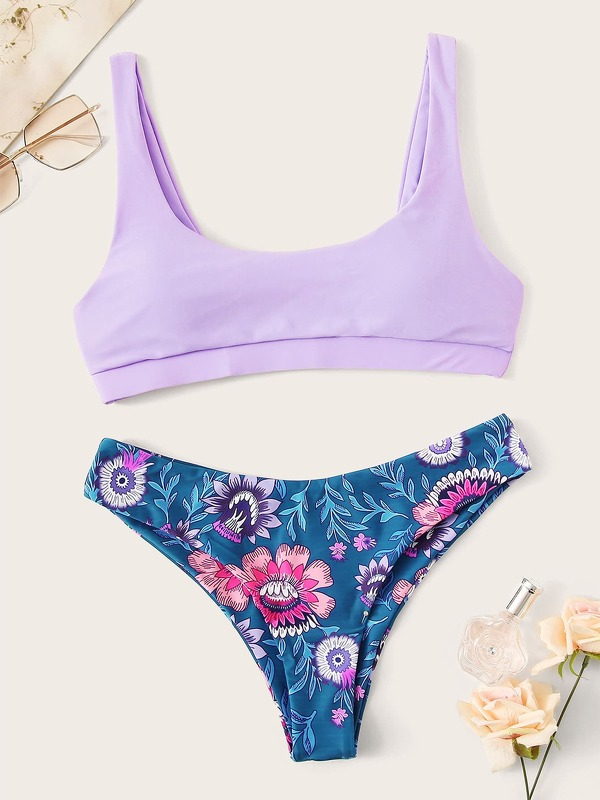 Scoop Neck Top With Floral Hister Bikini Set