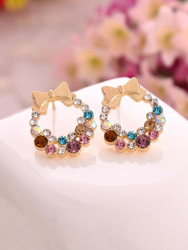 Bow Detail Hoop Earrings 1pair